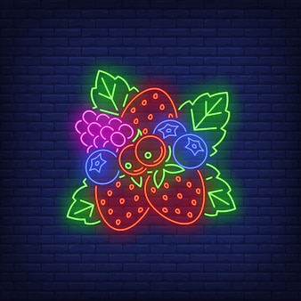 Strawberries, blueberries, red currants and raspberry neon sign.