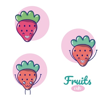 Strawberries cute fruits cartoons