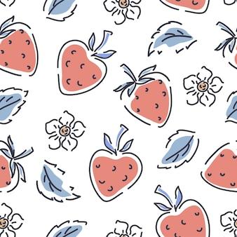 白い背景のシームレスなパターンにイチゴ、花、葉。子供服のかわいいパターン。ベクトルの背景。