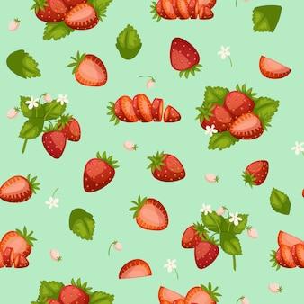 イチゴの新鮮な赤い果実と葉背景漫画のシームレスなパターン図。