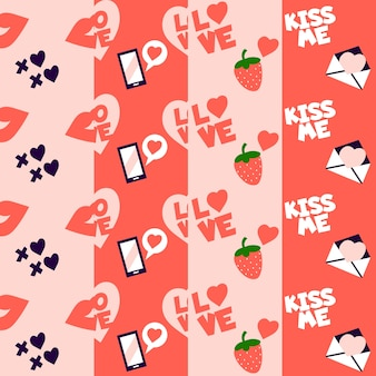 Strawberries and love letters valentine pattern