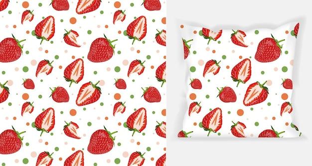 正方形の枕のモックアップとイチゴのパターンデザイン