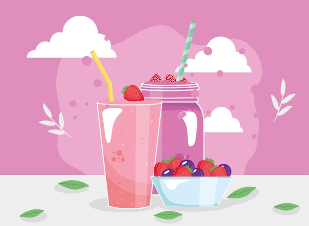 Strawberries and raspberries smoothies glasses and bowl