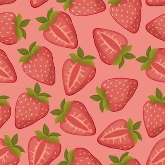 ピンクの背景とイチゴのシームレスな手描きのベクトルパターン
