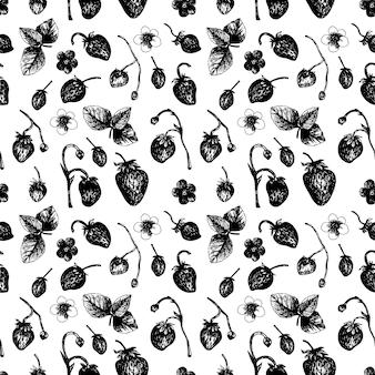 手描きスタイルのイチゴのシームレスなパターン。ベクトルイラスト、白い背景の上の夏の落書き。季節のメニュー、デザートのデザイン、料理の本のための新鮮なベリー。