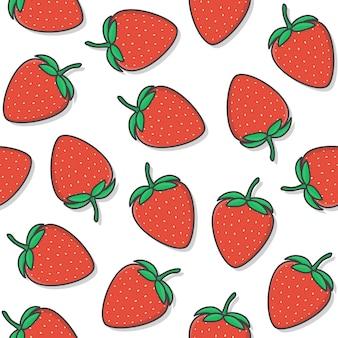 흰색 배경에 딸기 원활한 패턴입니다. 신선한 딸기 아이콘 벡터 일러스트 레이 션