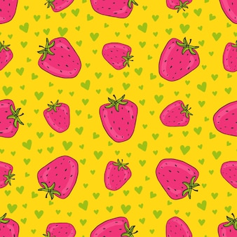 Strawberries seamless pattern with green hearts