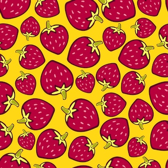 Strawberries seamless pattern on yellow background