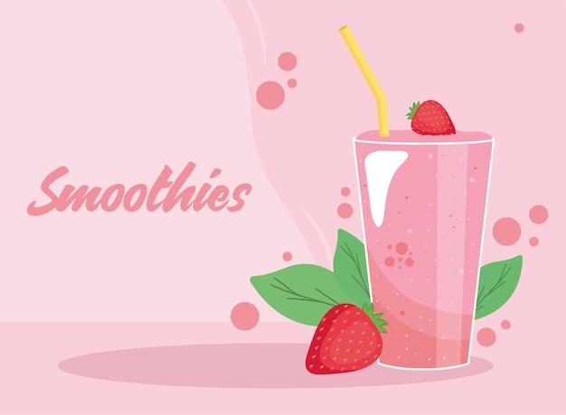 Strawberries smoothie glass with straw