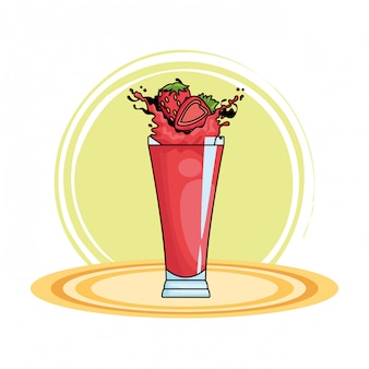 Strawberries splashing refreshment drink cartoon