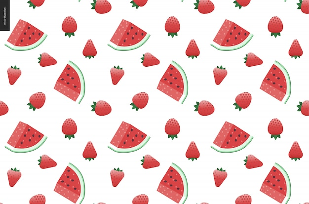 Strawberries and watermelon seamless vector pattern