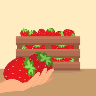 Strawberries in wooden box vector illustration