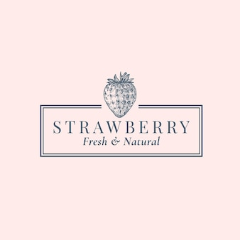 Strawberry abstract logo template. hand drawn berries sillhouette sketch with elegant retro typography and frame.