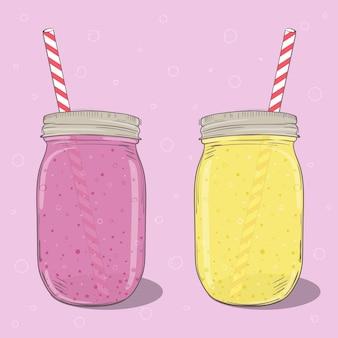 Клубничные и банановые молочные коктейли в банке каменщика на розовом фоне. векторная иллюстрация рисованной. для меню, открыток, баннеров.