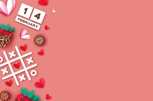 딸기와 초콜릿. 발렌타인 데이 인사말 카드 배경
