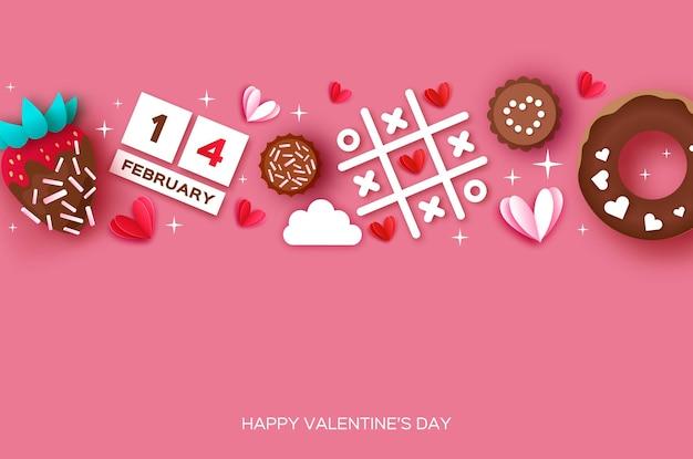 딸기와 초콜릿. 발렌타인 데이 인사말 카드.