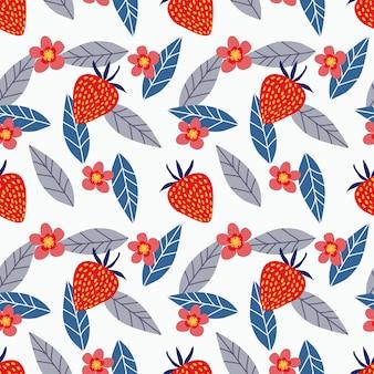 イチゴと花のシームレスパターン。
