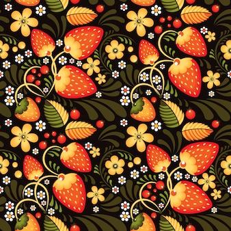 Клубника и цветы в хохломском стиле