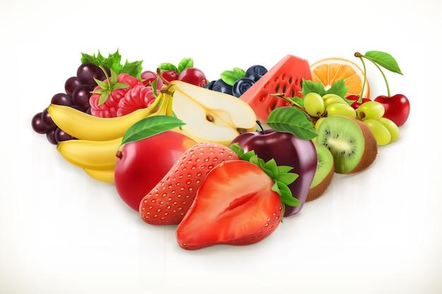イチゴとジューシーな果物、白で隔離のベクトル図