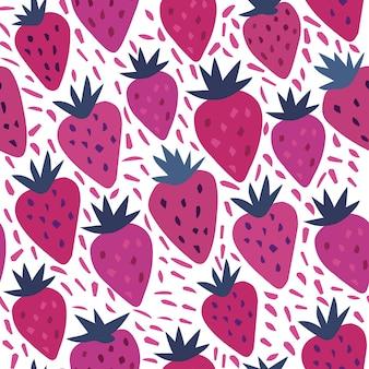 白い背景にイチゴと水玉のシームレスなパターン。夏の果物の手描きのイチゴの壁紙。キッチンデザイン、パッケージ、ホームテキスタイルのテンプレート。ベクトルイラスト