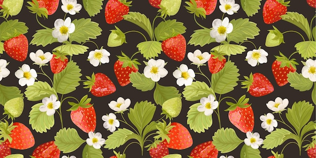 Strawberry background with flowers, wild berries, leaves. vector seamless texture illustration for summer cover, botanical wallpaper pattern, vintage party backdrop, wedding invitation