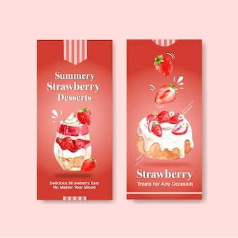 Strawberry baking flyer template design for brochure with cheesecake and shortcake watercolor illustration