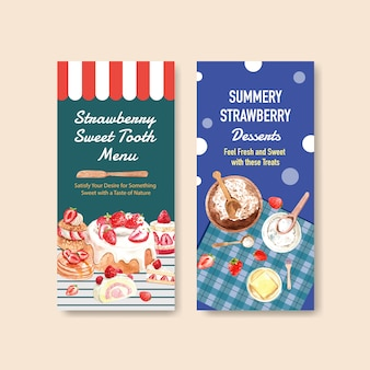Strawberry baking flyer template design for brochure with ingredient, flavor, cheesecake and waffles watercolor illustration
