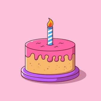 Strawberry birthday cake cartoon flat illustration.