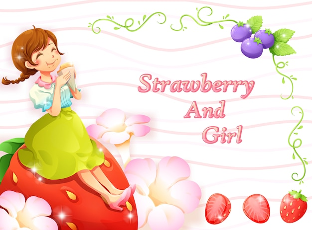 Strawberry blueberry and girl frame background