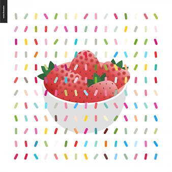 Strawberry in bowl and a seamless pattern