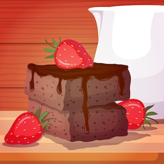 Strawberry brownies black forest cake food  tasty on wooden table