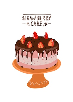 Strawberry cake in flat design desert with chocolate and strawberries on a plate