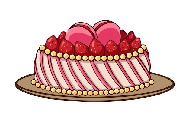 Strawberry cake icon in cartoon style isolated on white background.