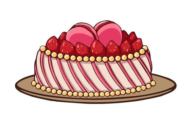 白い背景で隔離の漫画スタイルのストロベリーケーキアイコン。