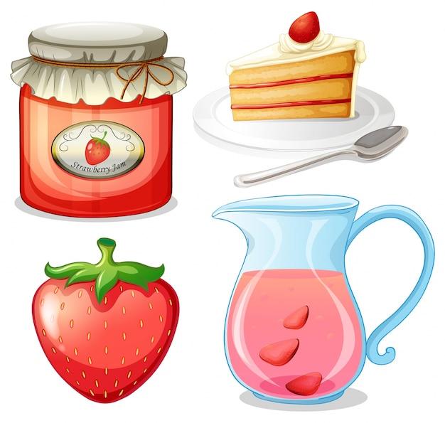 Strawberry cake and jam illustration