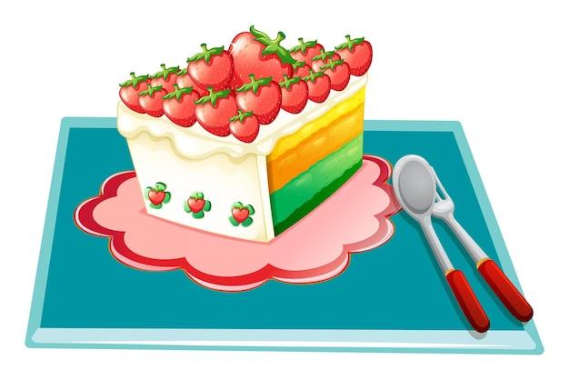 블루 매트에 딸기 케이크