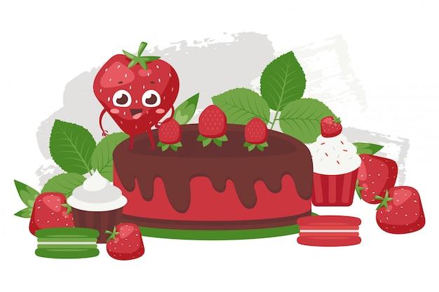 チョコレートとイチゴのケーキ、パンセットの図。ミントの甘いペストリー、高品質の製品。上にイチゴのキャラクター