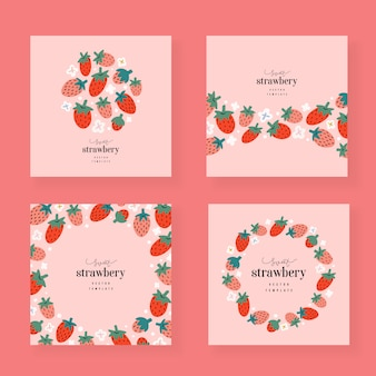 Strawberry cards templates, decorative borders with copy space