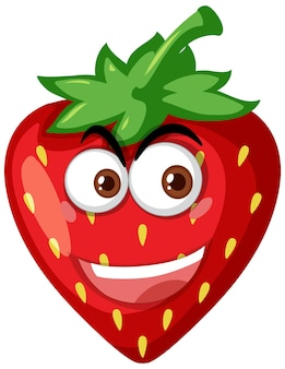 Strawberry cartoon character with happy face expression on white background