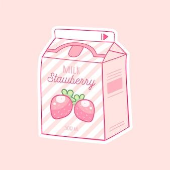 いちご漫画ミルクアジア製品手描き色流行ベクトルイラストカワイイアニメ