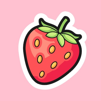 Strawberry cartoon sticker