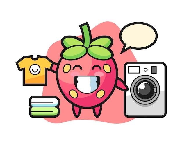 Клубничный мультфильм со стиральной машиной