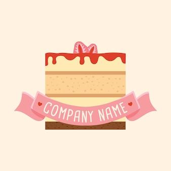 ライトクリーム色の背景にピンクのリボンとイチゴのチーズケーキのロゴのベクトルテンプレート