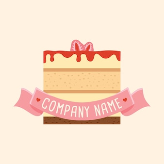 Strawberry cheesecake logo vector template with pink ribbon in light cream background