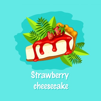 Strawberry cheesecake with berry on the turquoise