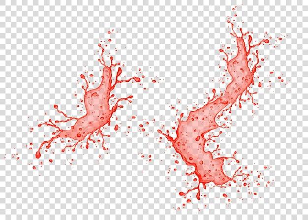 Всплеск клубники, вишни, малины или томатного сока, изолированные на прозрачном фоне. реалистичная векторная текстура.