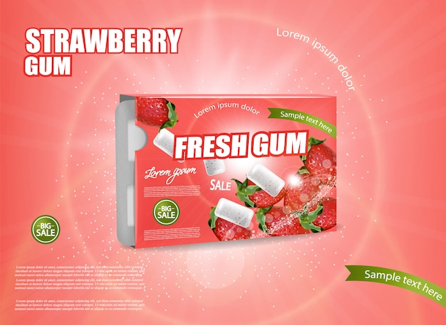 Strawberry chewing gum banner