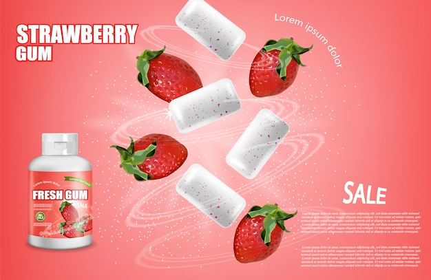 Strawberry chewing gum product placement