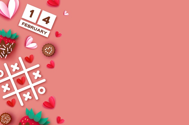 Strawberry and chocolate. valentines day greeting card background