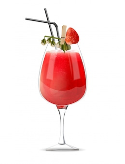 Strawberry cocktail in a glass with straws and fruit decoration